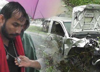 ปาฏิหาริย์มีจริงคนขับรถฝ่าพายุรอดตายรถพลิกคว่ำลงคลอง