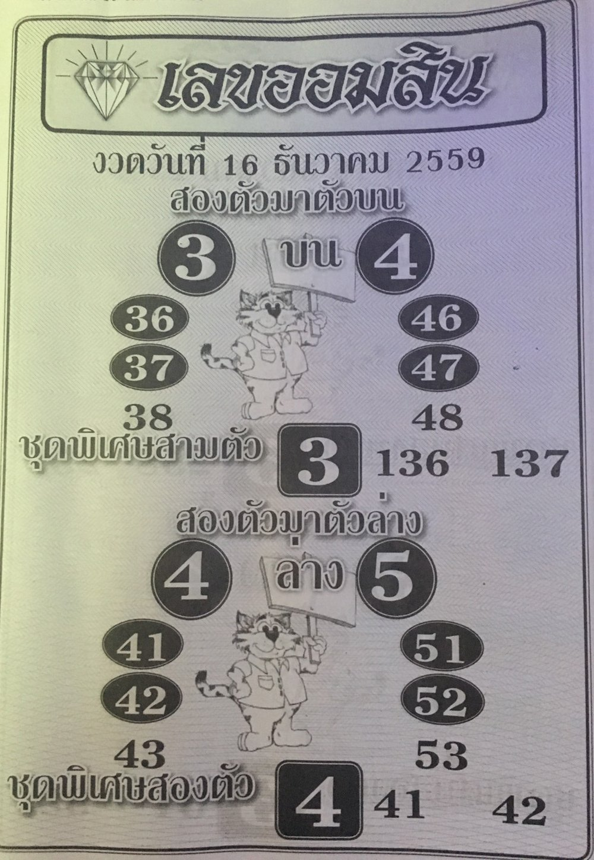 เลขออมสิน เลขเด็ด งวด 16 ธันวาคม 2559