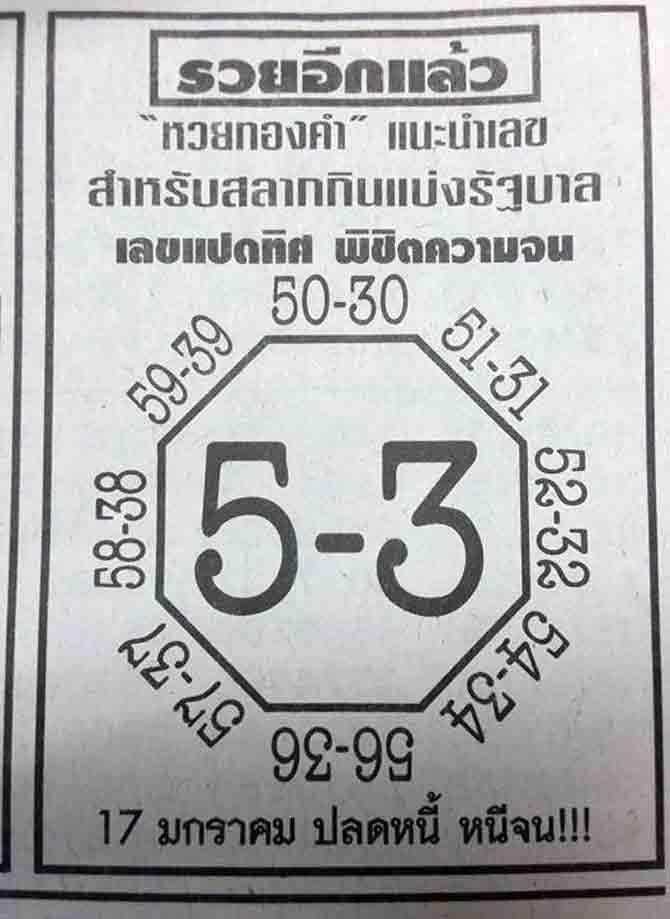 หวยทองคำ งวด 17/01/60 เลขปลดหนี้ หนีจน