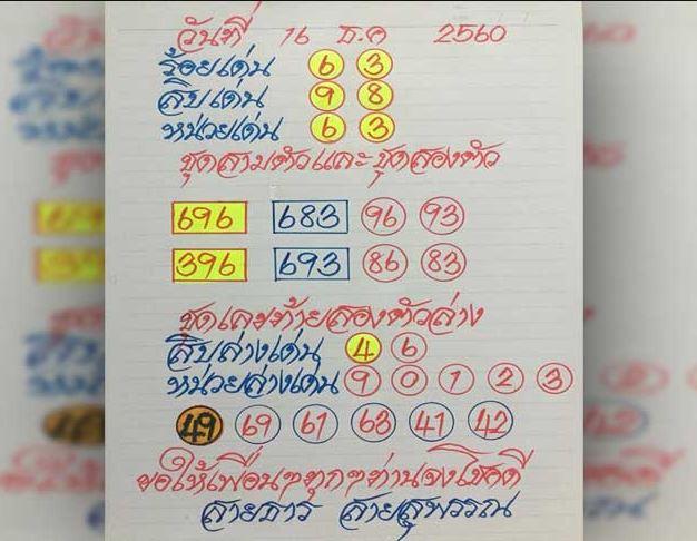 เลขเด็ดงวดนี้มาแรง คอหวยตามด่วน งวดที่ 16/12/2560