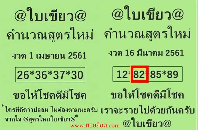 ของแท้ไม่ปลอม! หวยใบเขียวให้เลขแม่น เลขใบเขียว เลขหลุด1/4/61