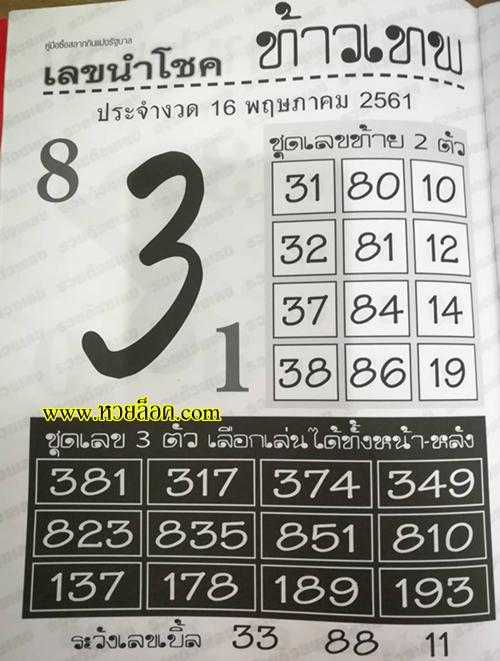 คู่มือหวย เลขสลากกินแบ่งรัฐบาล เลขนำโชคท้าวเทพ 16 พฤษภาคม 61