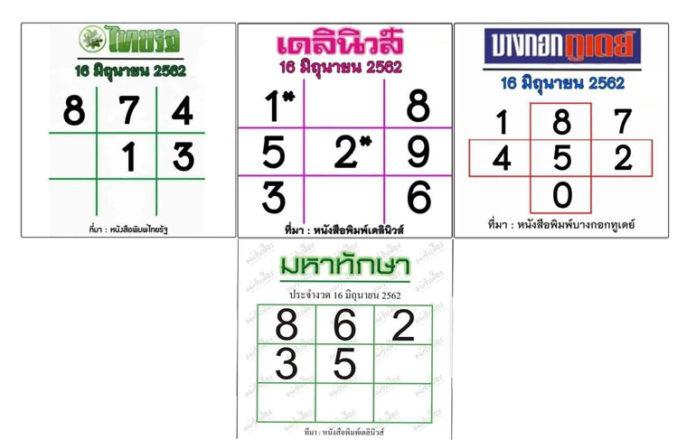 หมัดเด็ด! หวยหนังสือพิมพ์รวมทุกสำนัก หวยไทยรัฐ งวด16/6/62